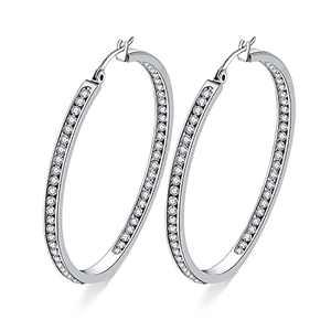 weinuo 2 Inch Stunning Stainless Steel White Cubic Zirconia Hoop Earring for Women Hypoallergenic Jewelry for Sensitive Ears Large Big Hoop Earrings 50MM