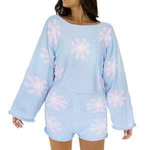 Women's 2 Pieces Sweater Sets Outfits Knit High Neckline Casual Pullover Long Bell Sleeve Crop Tops High Waited Shorts (X-Large, Blue)