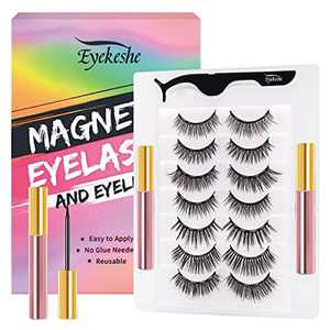 EYEKESHE Magnetic Eyeliner and Magnetic Lashes - Dramatic Look Magnetic Lashes with Tweezers Waterproof Magnetic Eyeliner, False Lashes Party Styles Without Glue (7 Pairs)