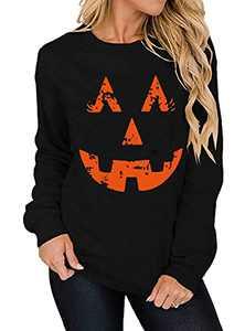 T&Twenties Pumpkin Face Sweatshirts Casual Halloween Pumpkin Laughing Face Shirt Smiley Pumpkin Long Sleeve Fall Tops Black
