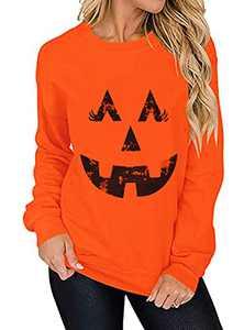 T&Twenties Pumpkin Face Sweatshirts Casual Halloween Pumpkin Laughing Face Shirt Smiley Pumpkin Long Sleeve Fall Tops Orange