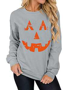 T&Twenties Pumpkin Face Sweatshirts Casual Halloween Pumpkin Laughing Face Shirt Smiley Pumpkin Long Sleeve Fall Tops Grey