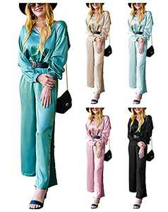 PRETTYGARDEN Women's Solid V Neck Satin 2 Piece Outfits Long Sleeve With Side Slit Trouser Lounge PJ Activewear Set (Green, Medium)