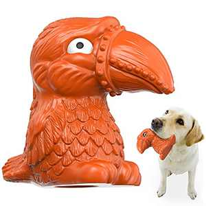 Dog Chew Toy, Dog SqueakyInteractive Toys, Flamingo Tough Dog Chew Toys for Training and Cleaning Teeth, Indestructible Pet Toys for Small Medium and Large Breed-100% Natural Rubber Beef Flavor