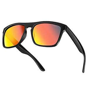HAXLEN Polarized Sunglasses for Men and Women Rectangle UV protection Sun glasses Black Black Black Frame-RedLens