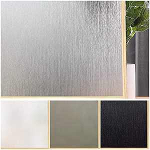 Window Film Privacy Removable Home Office Film Anti UV Window Cling Decorative Window Covering for Bathroom Silver Silk, (11.8 x 39.3 Inches)