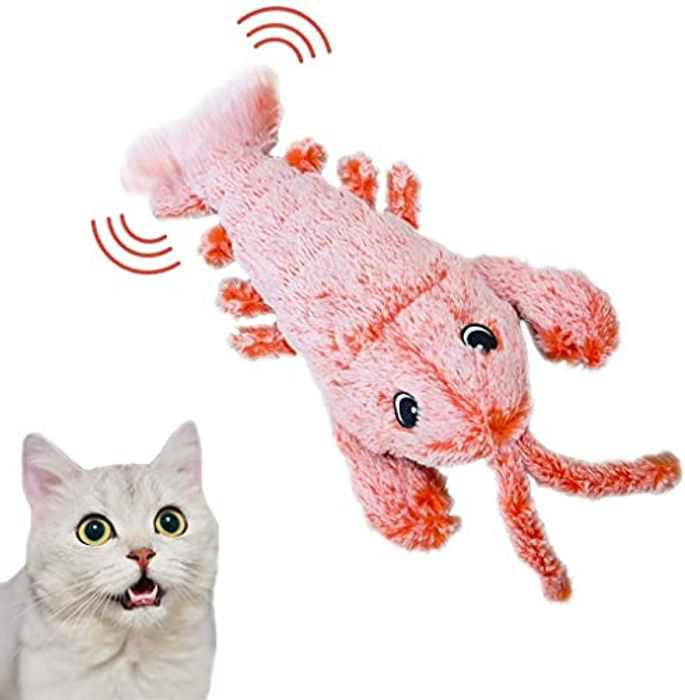 Beewarm Catnip Cat Toys for Indoor Cat Realistic Plush Interactive Dog/Cat Toy Wiggle Lobster Fish Catnip Toy Flopping Fish for Dogs and Cats Biting Chewing