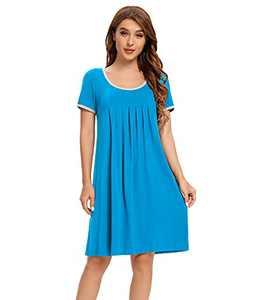 Womens Nightgown Short Sleeve Sleepwear Pleated Sleep Shirt Casual Scoopneck Nightshirt Loose Night Gown for Ladies Comfy Night Dress Loungewear Soft Sleep Dress for Women Lake Blue XL