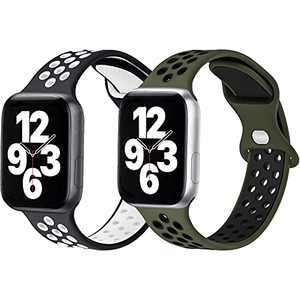 Sport Silicone Bands Compatible with Apple Watch Band 44mm 42mm 40mm 38mm Women Men,2 Pack Soft Breathable Silicone Bands Compatible for iWatch Series 6/3/5/4/2/1 SE BlackWhite/DarkGreenBlack