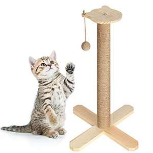 23 inch Tall Wood Cat Scratching Post with Interactive Ball Toys, Wooden Vertical Cat Scratcher for Kittens and Cats