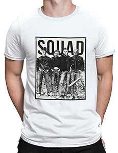 T&Twenties Men's Friends Horror Halloween Shirt Vintage Horror Movies Face Graphic Tee Tops Funny Squad Halloween Shirt
