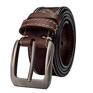 Leather Belt for Men Casual Jeans Belt Work Belt Construction Double Loop Contrast Stitching