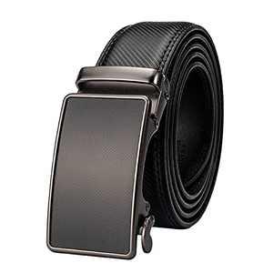 HOLMANSE Mens Ratchet Belt Leather Black Dress Belt Designer Heavy Duty Carbon Fiber Belt Automatic Sliding Buckle Work Belt