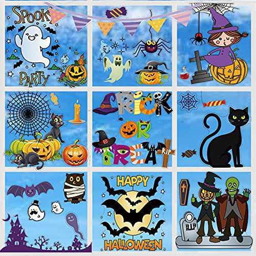 Halloween Decorations Clings Window Decals - 52 Pcs Large Decorations Halloween Glass Stickers Decals for Kids Children Home Office, Cute Halloween Decor, Halloween Party Decorations, Halloween Party Supplies