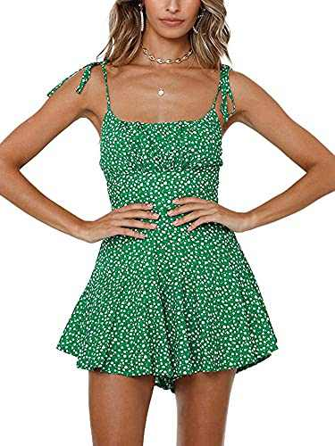 Ohvera Women's Floral Ruffle Tie Spaghrtti Strap Wide Leg Short Jumpsuits Rompers Green Small