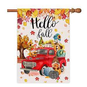 Hello Fall House Flag 28 X 40 Double Sided Truck Pumpkin, Autumn Leaves Burlap Large Garden Flags Thanksgiving Halloween Farmhouse Yard Outdoor Fall Flags