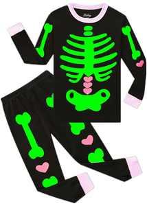 Halloween Cotton Pjs for Boys Girls Glow in The Dark children Skeleton Sleepwear Toddler Kids T-shirt Pants 2 Pieces Clothes long Sleeve Set size 3