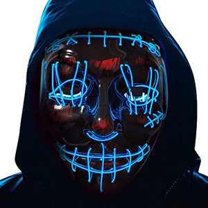 Halloween Led Light up Mask - Led Mask Costume Mask El Wire Hacker Mask Led Face Mask for Halloween Festival Party