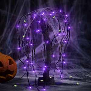 Halloween 18Inch Willow Tree Lights with Spiders - 48 LED and 10 Luminous Spiders Lights Battery Operated for Indoor, Bedroom, Kitchen, Living Room, Halloween Decoration