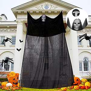 Halloween Ghost Hanging Scary Creepy Halloween Wall Decorations for Indoor/Outdoor Decor Scary Flying Gauze Ghost Hanging with Skeleton Mask for Haunted House Yard Garden Home Wall Background Party