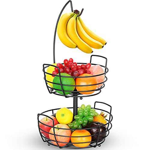 Bextsrack 2 Tier Fruit Basket Bowl with Banana Hanger for Kitchen Countertop, Portable & Detachable Fruit Vegetable Storage Holder Display for Kitchen - Black