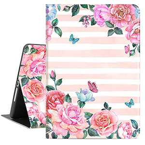 Lokigo iPad 10.2 Inch Case for iPad 9th Generation 2021, iPad 8th Generation Case 2020, iPad 7th Generation Case 2019, Protective Tablet Case for Girls Women, Auto Wake/Sleep, Pink Rose Butterfly