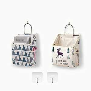 2Pack Wall Hanging Organizer Bag ,Closet Hanging Storage for Pocket,Bathroom Dormitory Storag,Linen Cotton Organizer Box Containers for Bedroom