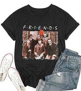 T&Twenties Women's Friends Horror Halloween Shirt Vintage Horror Movies Face Graphic Tees Horror Spooky Halloween Shirts