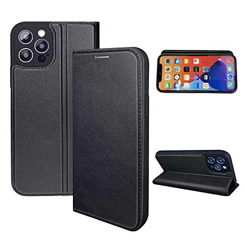 NOUSKE Hybrid PU Leather Case Compatible for iPhone 12 Pro MAX Case [Flip Wallet Case][TPU Silicone Cover][Magnet Folio Holster][Foldable Stand][Card Holder][RFID Protection],Black