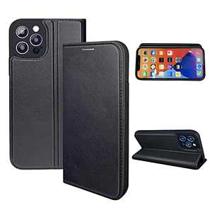 NOUSKE Hybrid PU Leather Case Compatible for iPhone 12 Pro Case (6.1 Inch)[Flip Wallet Case][TPU Silicone Cover][Magnet Folio Holster][Foldable Stand][Card Holder][RFID Protection],Black
