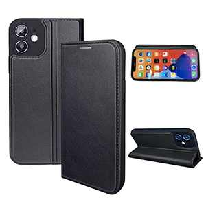 NOUSKE Hybrid PU Leather Case Compatible for iPhone 12 Mini Case (5.4 Inch)[Flip Wallet Case][TPU Silicone Cover][Magnet Folio Holster][Foldable Stand][Card Holder][RFID Protection],Black