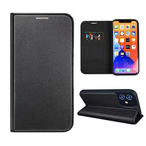 NOUSKE Hybrid PU Leather Case Compatible for iPhone 12 Case (6.1 Inch)[Flip Wallet Case][TPU Silicone Cover][Magnet Folio Holster][Foldable Stand][Card Holder][RFID Protection],Black