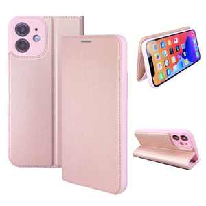 NOUSKE Hybrid PU Leather Case Compatible for iPhone 12 Mini (5.4 Inch)[Flip Wallet Case][TPU Silicone Cover][Magnet Folio Holster][Foldable Stand][Card Holder][RFID Protection],Rose Pink