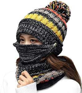 Women's Beanie Winter Knit Fleece Lined Ear Flaps Hat with Pompom, Girl Winter Ski Hat Thick Warm Slouchy Scarf Mouth Mask Hat Black
