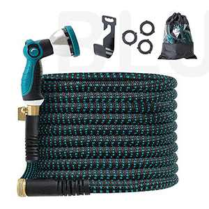 """BLUU Expandable Garden Hose 50 ft, Flexible Outdoor Watering Hose, Heavy Duty 3/4"""" Solid Brass Fittings with Nozzle Sprayer, Retractable and Kink Free, Premium Fabric Soaker Hose"""