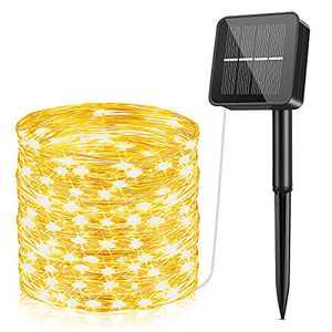 SUWITU Solar Fairy Lights Outdoor, 240 LED Solar String Lights USB/Solar Powered Waterproof Garden Lights 85Ft 8 Modes Decoration Lighting for Indoor/Outdoor (Warm White)