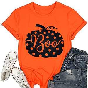 T&Twenties Women's Halloween Pumpkin Shirt Cute It's Fall Y'all Thanksgiving Tee Tops Funny Leopard Pumpkin Fall Shirt