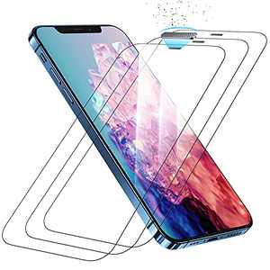 """Chuboor Protector for iPhone 12/ iPhone 12 pro (6.1"""" Display) Screen Protector, Unique Ear Speak Protector, 9H Tempered Glass, Anti-Scratch, with Easy Installing Assistance, 6.1 in 3Pack"""
