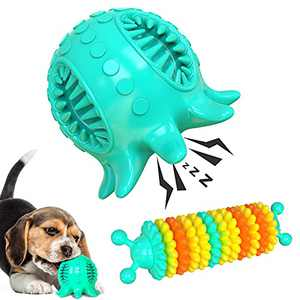 2Pack Squeaky Dog Toys for Small Dogs, Indestructible Tough Power Chew Toy for Dogs Breed,Interactive Treat Dispensing Toys Balls for Puppy Teeth Cleaning