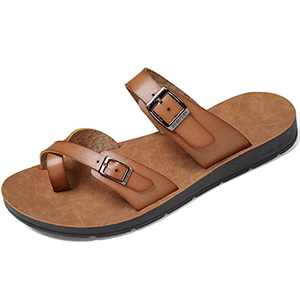Womens Sandals with Adjustable Double Buckle Strap Casual Comfort Footbed Slides Sandals for Indoor and Outdoor Beach (Taupe 36)