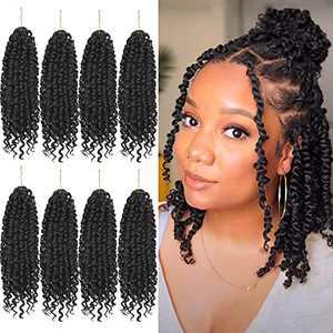 8 Packs Passion Twist Crochet Hair 10 Inch Pre-twisted Short Crochet Passion Twist Hair, Pre Looped Passion Twist Crochet Braids Bohemian Crochet Hair 1B