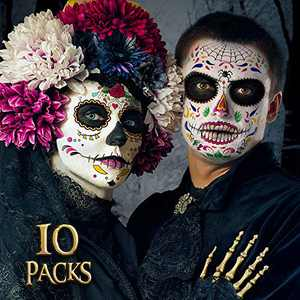 Day of the Dead Face Tattoos Makeup- Halloween Costume for Women Men Adults Kids |Halloween Skeleton Dia De Los Muertos Temporary Tattoos | 10 PCS Red Rose Sugar Skull Face Tattoo Decor Stickers Kit