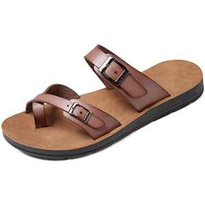 Womens Sandals with Adjustable Double Buckle Strap Casual Comfort Footbed Slides Sandals for Indoor and Outdoor Beach (Purple Grey 40)