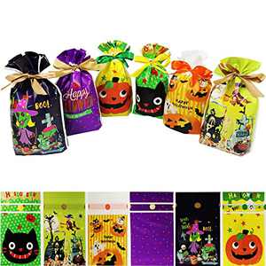 Halloween Treat Bags Bulk for Trick or Treat,48 PCS Drawstring Plastic Candy Goodie Bags with Handle Kids Halloween Party Favors