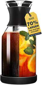 Cold Brew Coffee Maker & Iced Tea Pitcher Fruit Infuser - 1.7 L Infused Ice Coldbrew Kit with Filter - Black Perfect Pitcher by Eparé