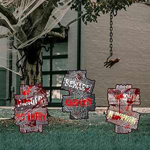 """Fanboxk Halloween Decorations Beware Yard Signs Stakes Props Outdoor Decor Scary Zombie Vamoire Graves Holiday Party Supplies 3 Pack(14"""" x 10"""")"""