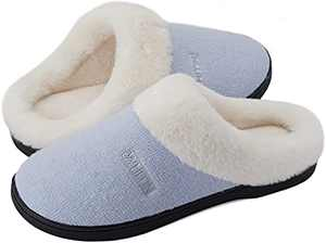 WHITIN Women's Knit Memory Foam House Shoes, Size 12-13 Ladies Slip On Home Flat Indoor Soft Casual Sporty Cushioned Sleepers Plush with Faux Fur Girl's Warm Fuzzy Bedroom Slippers Light Blue 42-43