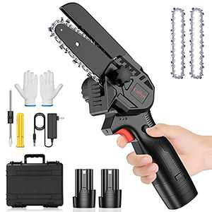 Mini Chainsaw Cordless, Upgraded 4 inch Mini Chainsaw Battery Powered, Small Electric Chainsaw Cordless, Handheld Chain Saw for Gardening, Tree Pruning, Gardening Tree Branch Wood Cutting