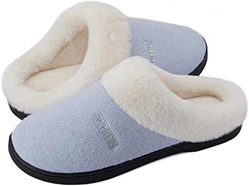 WHITIN Women's Knit Memory Foam House Shoes, Size 8-9 Female Slip On Loafers Winter Warm Fuzzy Indoor Soft Bedroom Comfortable Lightweight Sleepers Plush with White Fur Slippers Light Blue 38-39