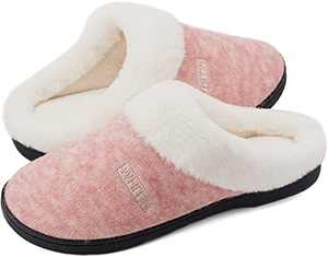 WHITIN Women's Knit Memory Foam Home Slippers, Size 10-11 Ladies Slip On Loafers Sporty Flat Soft Comfortable Warm pantunflas de mujer Sleepers Fuzzy Plush with White Fur Bedroom Shoes Pink 40-41